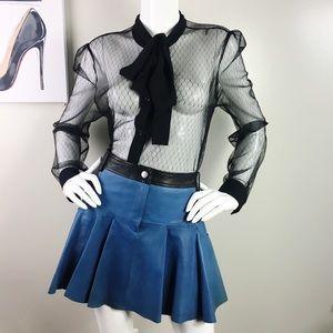 O10: Thakoon Addition blue black leather skirt
